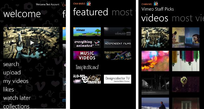 Vimeo para Windows Phone