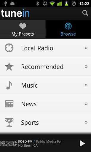 Aplicación para Samsung, TuneIn