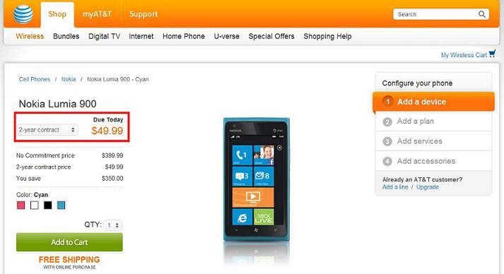 Nokia Lumia 900 se reduce al 50% en los EE.UU