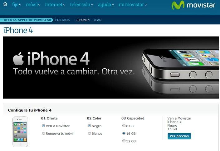 Precios del iPhone 4