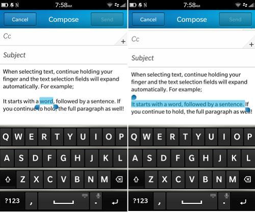seleccionar, cortar, copiar y pegar con el BlackBerry Z10