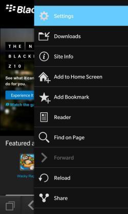 habilitar la navegación privada desde BlackBerry 10
