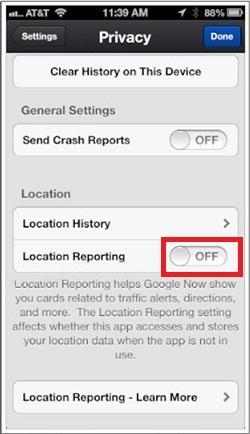 desactivar el informe de ubicación en Google Search