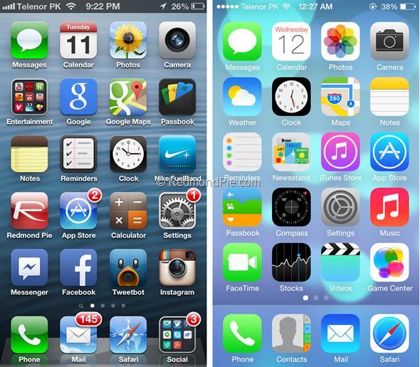 iOS 7 vs iOS 6-1
