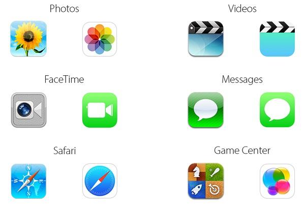 Iconos de iOS 6 VS iconos de iOS 7