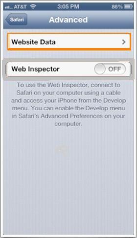 eliminar todos los datos del sitio web Safari