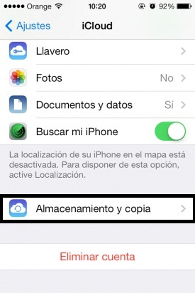 copia de seguridad para iOS 7