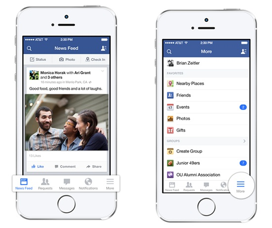 facebook se actualiza para iOS 7