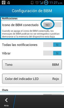 Desactivar el icono de BBM conectado