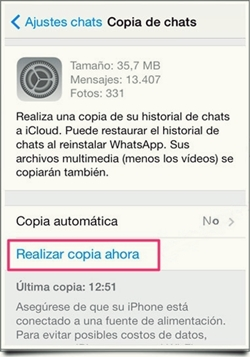 copia de seguridad de tus Chats de WhatsApp 3