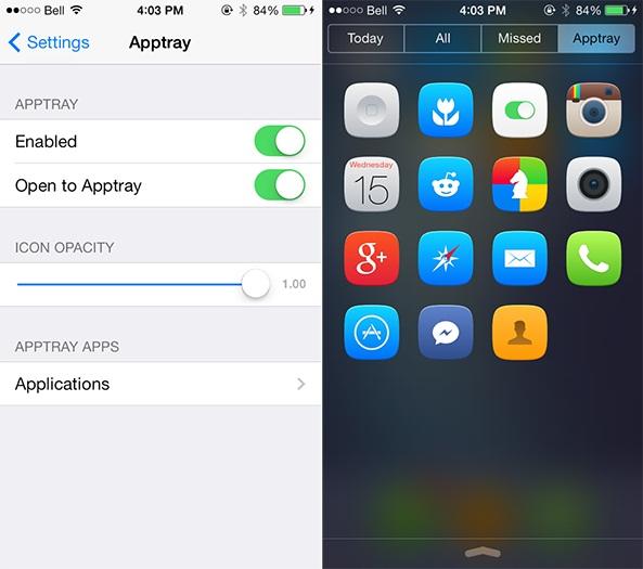 Apptray para iOS 7