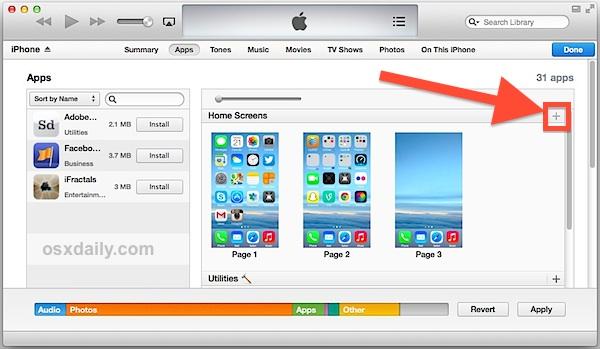 crear una pantalla de inicio vacía en el iPhone