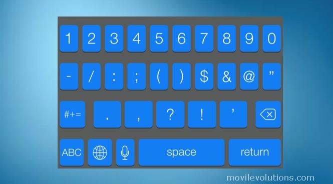 añadir un teclado azul para iOS