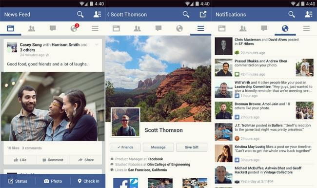 Facebook para Android con nueva interfaz