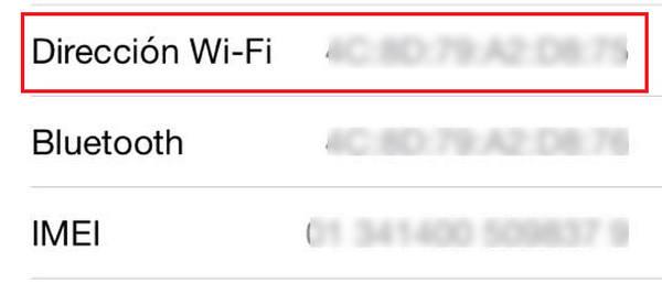 mac adress iphone 5